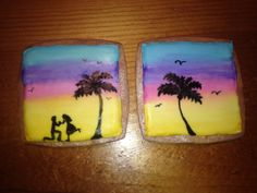 Tropical engagement sugar cookies with royal icing