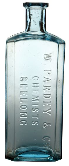 Melbourne Glass Works Pardey & Co Chemists Geelong. Ice blue glass bottle.