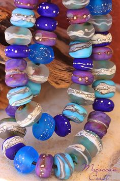 Glass Lampwork Beads - handmade --Moroccan Coast Rounds and Heart Focal - Paradise Beads