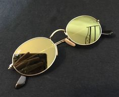 Ray Ban 3547-N Sunglasses Gold Metal Round Frame Yellow Flash Mirror Lens   RayBan 15e2c58c05