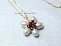 June Birthstone. Pearl Flower Necklace by LemonDreamHouse on Etsy, $48.00