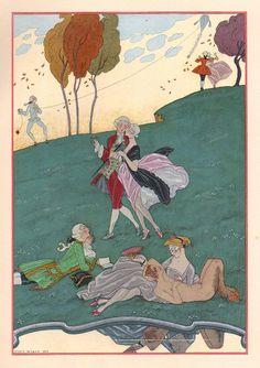Les Fêtes Galantes de Paul Verlaine, illustrations de George Barbier. Note Satyr in lower right hand corner! Barbier liked them too! ; - )