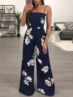 Shop Floral Spaghetti Strap Wide Leg Jumpsuit right now, get great deals at Joys. Shop Floral Spaghetti Strap Wide Leg Jumpsuit right now, get great deals at Joyshoetique. - Jumpsuits and Romper Summer Outfits, Casual Outfits, Cute Outfits, Fashion Outfits, Womens Fashion, Style Fashion, Women's Casual, Fashion Clothes, Fashion Ideas