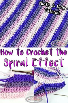 Learn how to Crochet the Spiral Effect which is made in rows but then converted to rounds to show the spiral. #free #freecrochet #crochet #crochettutorial #tutorial #how to #freecrochetpattern #freepattern #spiral #christmas #crochethat slouchy crochet, spiral, spiral crochet, spiral effect
