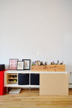 Use peg board to update boring IKEA pieces.