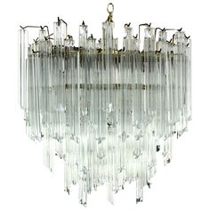 Camer Mid-Century Modern Murano Chandelier Light Fixture | From a unique collection of antique and modern chandeliers and pendants at https://www.1stdibs.com/furniture/lighting/chandeliers-pendant-lights/