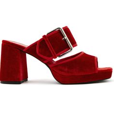 Finery London Holly Mule Platform Sandal found on Polyvore featuring shoes, sandals, red, buckle sandals, platform shoes, red platform sandals, wide sandals and red mules