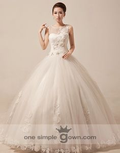Round Neck Appliques Flower Ball Gown Wedding Gown Flower Ball bbce132120e4