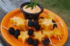 Blackberries and cantaloupe kebobs add a festive feel to these healthy and delicious sweet swap for candy