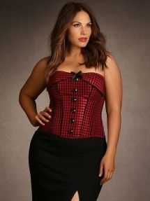 Plus Size Gingham Corset, Red and Black