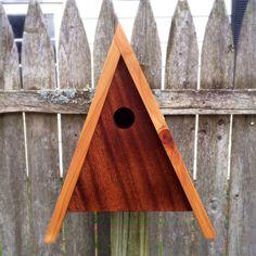 Modern AFrame Birdhouse  Mahogany and Cedar  Made by PleasantRanch, $75.00