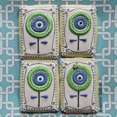 Retro Flower Cookies Cookie Connection by Julia Usher Blue Green White Square