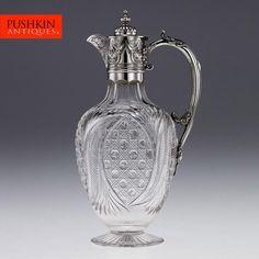 ANTIQUE 19thC VICTORIAN SOLID SILVER & CUT GLASS CLARET JUG, LONDON c.1887