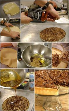 Jack Daniels Pecan Pie. Click through for the recipe. Ingredients: Butter Butter, 6 oz Sugar, 1 Yolks, 5 Eggs, 1 lb AP flour, 6 ½ oz Brown Sugar, 3 oz Corn Syrup, 3 oz Molasses, 1 Pinch Kosher SALT, 1 oz Whiskey, 1 ½ oz Melted Butter, 8 oz Pecans, 3 oz Chocolate Chips.