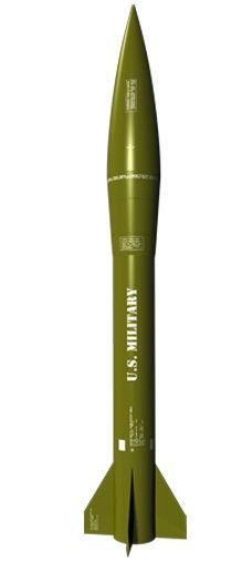 ESTES, Mini Honest John. Mini engine powered, this sport scaled model of a U.S. battle field artillery missile features a detailed molded nose cone and laser cut balsa fins. (Product#: EST-2446) #hobby #rocket #modelrocket #military #unitedstates #usa #green