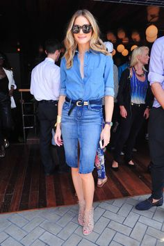 Olivia Palermo at New York Fashion Week S/S 2015 (which occurs fall 2014), denim on denim, denim skirt