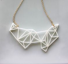 White Geometric Resin Necklace