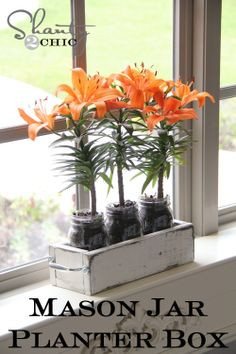 mason jar planter box + how to distress paint with vaseline