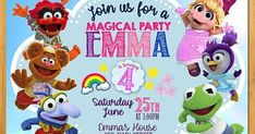 Muppet Babies, 1st Year Cake, Family Guy, Party, Fictional Characters, Invitation Cards, Invitations, Crates, Bebe
