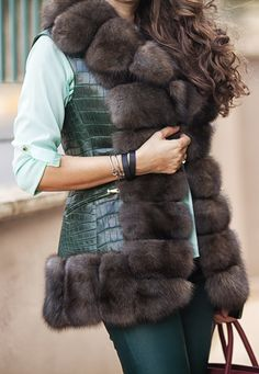 Crocodile vest with sable fur by ADAMOFUR