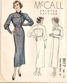 McCall 8017 | 1930s Junior Miss Dress