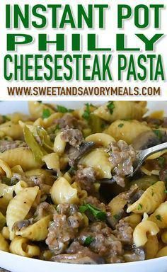 Instant Pot Philly Cheesesteak Pasta has all the delicious flavors and textures of a juicy Philly cheesesteak in this easy and cheesy pasta dish ready in about 30 minutes. pot recipes Instant Pot Philly Cheesesteak Pasta [VIDEO] - Sweet and Savory Meals Best Instant Pot Recipe, Instant Recipes, Instant Pot Dinner Recipes, Instant Pot Meals, Recipes Dinner, Pasta Recipes, Beef Recipes, Cooking Recipes, Ninja Recipes