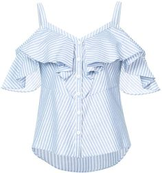 Shop Veronica Beard Grant Cold-shoulder Ruffled Striped Cotton Blouse at Modalist Sewing Blouses, Cotton Blouses, Cotton Shirts, Cold Shoulder Shirt, Shoulder Cut, Shoulder Tops, Veronica Beard, Striped Tank Top, Pattern Fashion