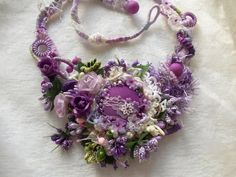 Unique hand made fiber and fabric jewelry & accessories by AccessoriesLilit Floral Necklace, Crochet Necklace, Yarn Necklace, Boho Necklace, Textile Jewelry, Fabric Jewelry, Frozen Rose, Fibre And Fabric, Flower Ornaments