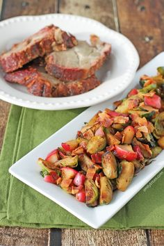 Sauteed Brussels Sprouts and Apples: sweet apples, smoky bacon, buttery spread, savory onions and earthy Brussels sprouts make for a healthy and delicious side dish! www.emilybites.com
