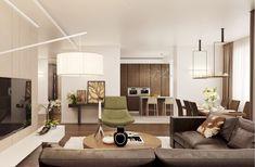salon moderne en gamme de couleurs neutres