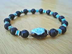 Men's/Unisex Love, Protection, Fortune Bracelet with Semi Precious Onyx, Black and Turquoise Fire Agate, African Turquoise Silver Hematites