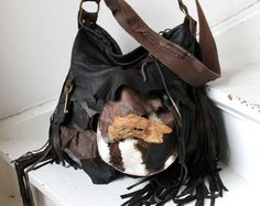Large leather bag hobo brown pirate style bohemian boho festival tribal high fashion purse sweet smoke free people zebra leather wooden