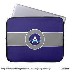 Navy Blue Gray Monogram Personalized Laptop Sleeve