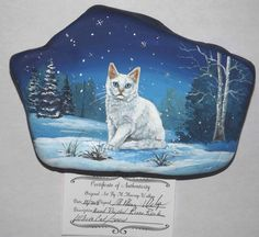 Hand+Painted+River+Rock+White+Cat+Snow+Forest+Christmas+Holiday+Painting+Wild+#Folkart