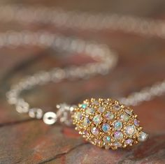 Gold pave crystals necklace with sterling silver chain