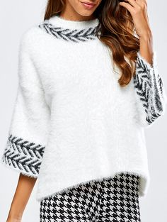 Jacquard Fuzzy Loose Sweater Shop for White One Si+ Fair Isle Knitting Patterns, Sweater Knitting Patterns, Knit Fashion, Fashion Outfits, Fashion Site, Sweater Fashion, Men Fashion, Mode Glamour, Stitch Fit