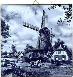 Dutch Tile, Delft Blue Windmill with Ponies
