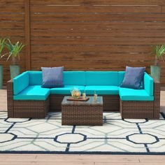 Zipcode Design Shelbie 7 Piece Rattan Sectional Seating Group with Cushions Cushion Color: Blue Outdoor Sofa Sets, Outdoor Seating, Outdoor Furniture Sets, Outdoor Living, Rattan Furniture Set, Rattan Sofa, Steel Furniture, Wicker, Single Sofa Chair