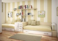 Outstanding Images Of Cool Room Paint For Your Inspiration Design And Decoration : Contempo Cream Teen Bedroom Design And Decoration Using Cream Stripe Bedroom Wall Paint Including Mounted Wall White Wood Bookshelf In Bedroom And Solid Oak Wood Tile Bedroom Flooring