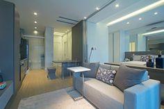 Decoração loft tons de cinza - Divisória quarto e sala ( Projeto: Joia Bergamo )