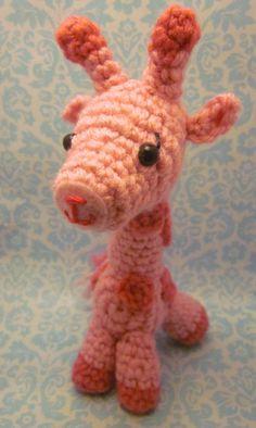 Wee Little Pink GIraffe Amigurumi Crocheted Doll