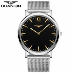 29.99$  Buy here - http://aihea.worlditems.win/all/product.php?id=32792838859 - GUANQIN GS19056 Bauhaus Milan Top Brand Luxury Quartz Watch Men Mesh Band Stainless Steel Clock Male Ultra Thin Wristwatch