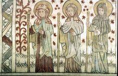 Tre kvinnliga helgon, Elin, Birgitta Katarina, Götene kyrka, Västergötland. At the end of 1400.