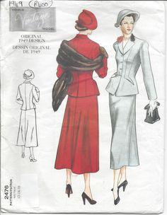 "1949 Vintage VOGUE Sewing Pattern JACKET & SKIRT B34""-36""-38"" (R400)"