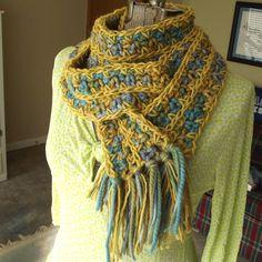 Crochet Wool Scarf Field of Wildflowers Handmade by GypsythatIwas, $34.00