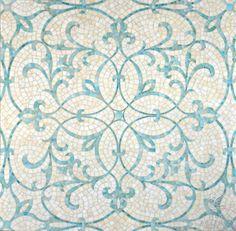 Marabel, a jewel glass mosaic shown in Aquamarine and Quartz.