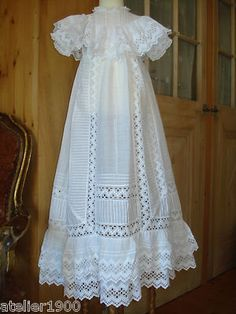 antique victorian edwardian embroidered lace christening gown Love the lace collar and hem Lace Christening Gowns, Christening Outfit, Baptism Dress, Baby Christening, Blessing Dress, Baby Couture, Communion Dresses, Heirloom Sewing, Madame