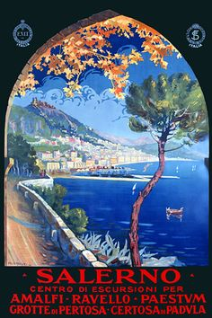 Salerno Italy Travel Posters and Prints  This one is cleverly showing the vista through an archway.