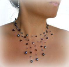 Flotante de perlas collar negro collar de la Real por anamarina