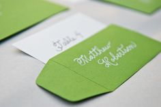 Custom Wedding Calligraphy  Green and White Escort Cards with Envelopes or Place Cards - Green with White Ink The Pampered Paper Nashville Calligrapher #escortcards #weddingcalligraphy